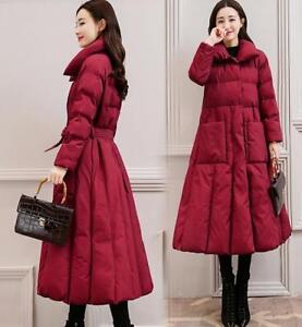 Femmes de ligne revers de bas sur coton revers une genou épaissir manteau survêtement le long vêtements E890 SMqzpUVG