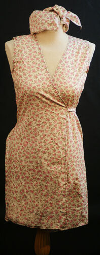 Nora Batty-1940s-Ladies  PINK FLORAL WRAP AROUND PINNY /& HEADSCARF ALL SIZES