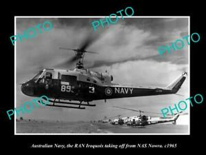 POSTCARD-SIZE-PHOTO-OF-AUSTRALIAN-NAVY-IROQUOIS-HELICOPTER-AT-NAS-NOWRA-c1965