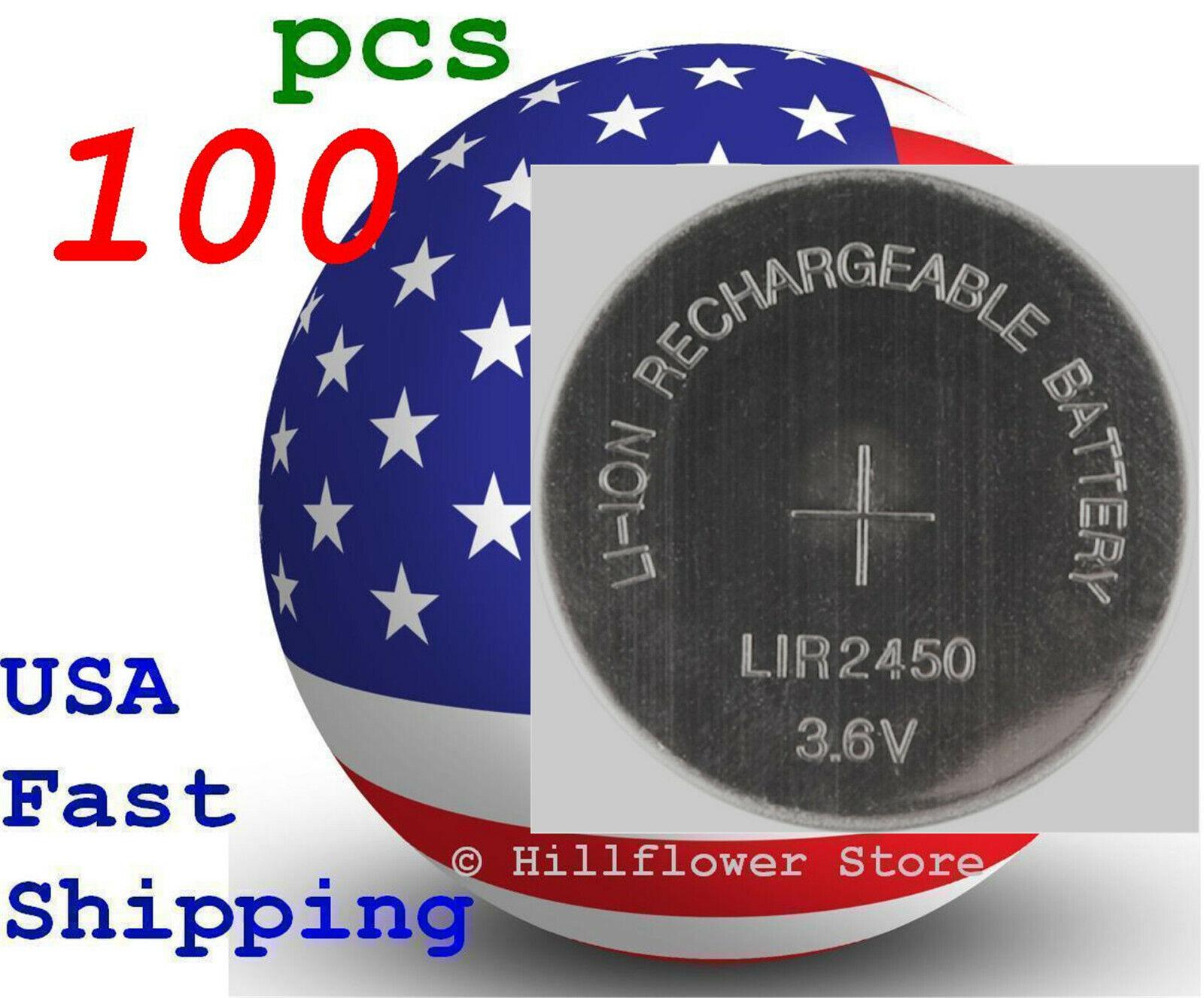 100 pcs LIR2450 2450 Bulk 3.6V Rechargeable LIR Genuine Lithium Battery