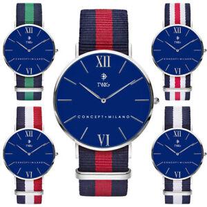 Orologio-uomo-donna-TWIG-HARING-argento-blu-classico-militare