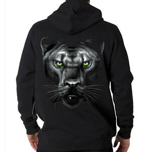 Majestic Black Panther Face Jungle Cat Animal Design Hooded Sweatshirt Hoodie