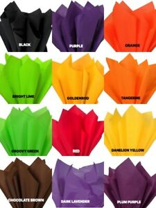 """HALLOWEEN Colors Tissue Paper Sheets 15"""" x 20"""" Choose Color and Pack Amount"""