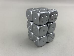 Chessex-Imitacion-Metal-Dado-d6-16mm-Plata-12-Nuevo