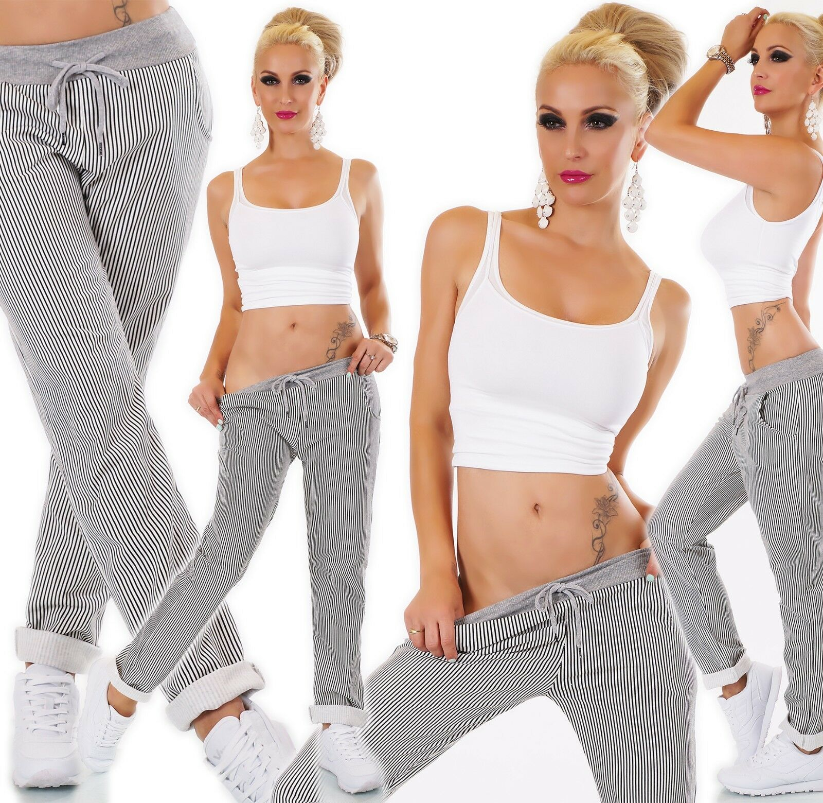 Women Pants Sweat Baggy Jogging Trousers Casual Stripes