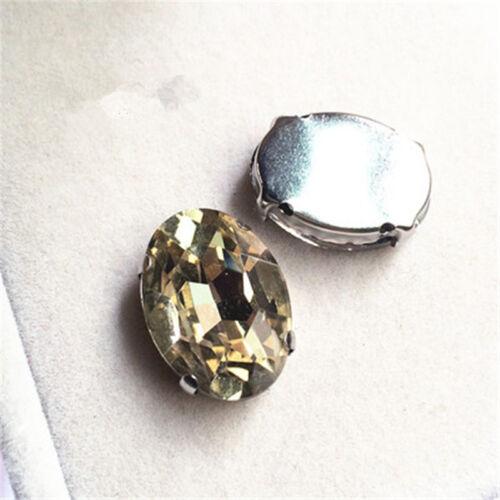 50 un Coser 6x8mm Oval Cristal Estrás cabujones de cristal tallado Hazlo tú mismo vestido haciendo