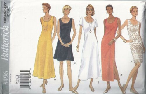Butterick Sewing Pattern # 3496 Misses Dress in 2 Lengths Size 14-16-18