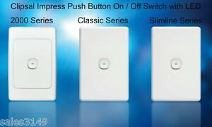 Clipsal-Impress-LED-Push-Button-Light-Switch-Wall-Plat-2000-Classic-Slimline