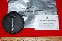 Etienne Aigner Black Leather Double Compact Mirror 3 Dia