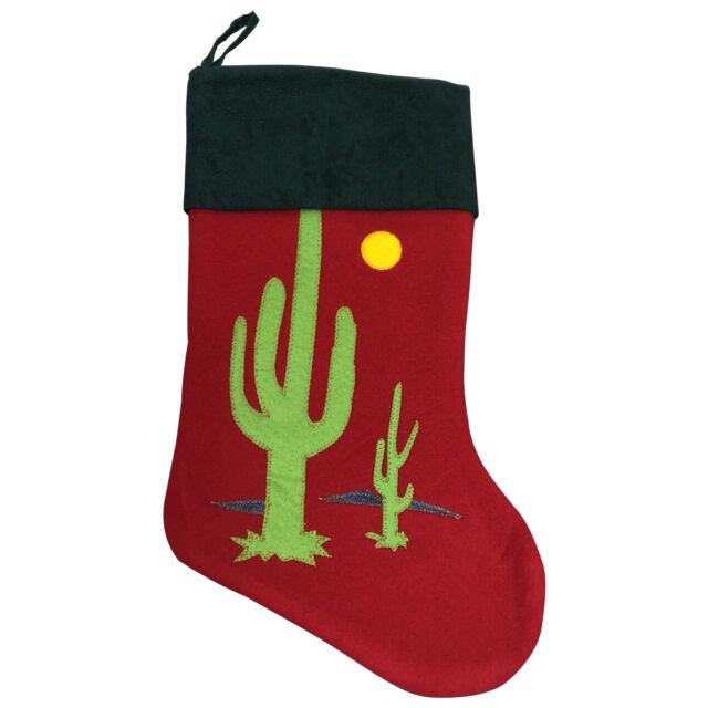 Cactus Desert Christmas Stocking Southwest Theme Felt Velvet Kokopelli Home Garden Christmas Winter Décor
