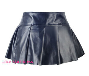 buy sale promo code best cheap Details about Steampunk Gothic Black PU Faux Leather Short Ruffled Mini  Skirt Size S-2XL S2414