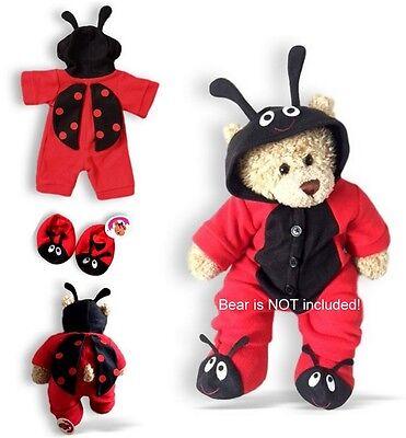 Teddy Bear Clothes fits Build a rot Käfer Outfit & Hausschuhe sehen Rücken
