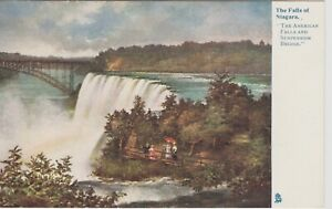 Niagra-Fall-American-Falls-and-Suspension-Bridge-amp-lookout-Vintage-postcard
