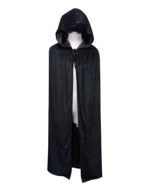 Black Vampire Assassin Velvet Hooded Cloak Cosplay Costume Fancy Dress HC-061