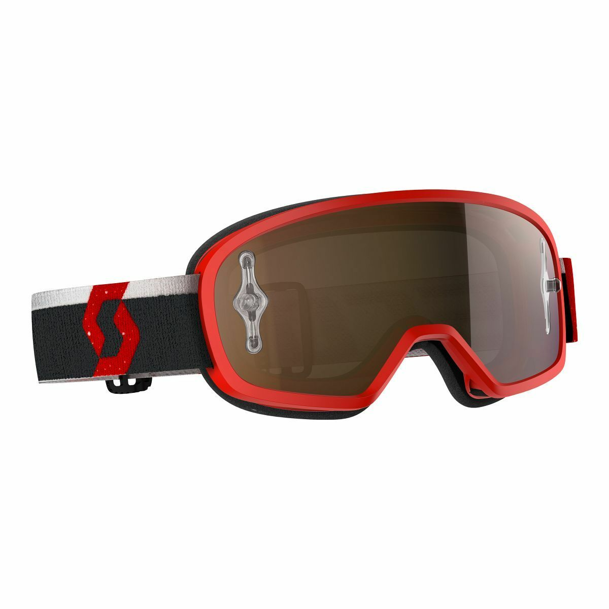 Scott Buzz Pro Kinder MX Goggle Cross MTB Brille red goldfarben chrome works