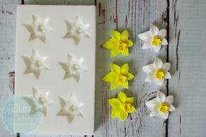 Silicone-Mould-Small-Daffodil-repeat-Easter-Spring-Daffodils-Flower-M218