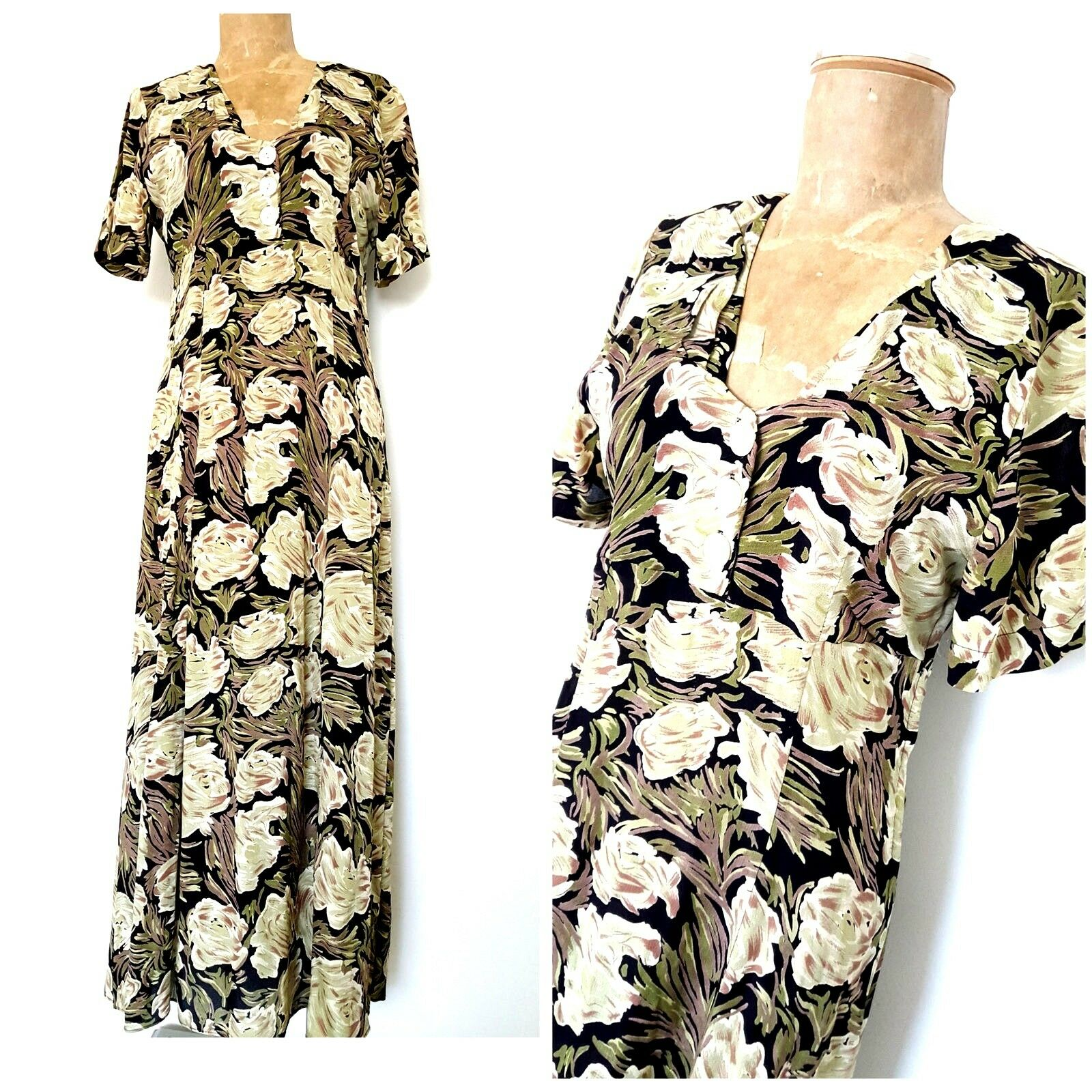 Vintage 90s Rockstar Floral Dress Größe Medium Great Gatsby Bias Cut Flapper Gown
