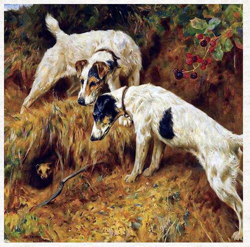 Dos Terrier Perros Cojín de tela vintage de Arthur Wardle-panel Acolcha Artesanal