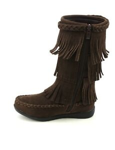 Jelly-Beans-Girl-Size-Fringe-faux-Suede-Boots-With-Side-Zipper