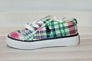 Polo-Ralph-Lauren-Brisbane-Pastel-Plaid-Sneakers-Toddler-6-Shoes-MSRP-50-NEW