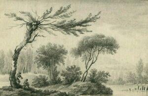 19th-century-Vintage-Old-Drawing-Dessin-Ancien-Fishermen-Landscape