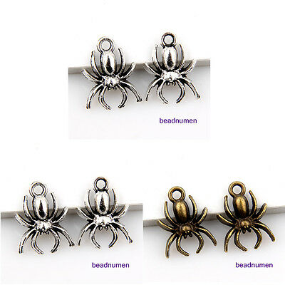 30Pcs zinc alloy Jewelry Making Spider Charms Pendants 18x13mm 1A847