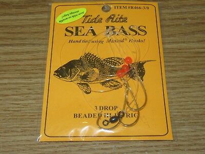 12 SEA BASS BLACK TIDE RITE R466-2//0 3 DROP HI-LO SALTWATER FISH RIG MUSTAD