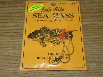 12 SEA BASS BLACK TIDE RITE R466-PWP 3 DROP HI-LO SALTWATER FISH RIG MUSTAD