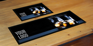 PERSONALISED WHISKEY SHOTS GLASS NAME//LOGO BAR RUNNER HOME PUB BEER MAT OCCASION