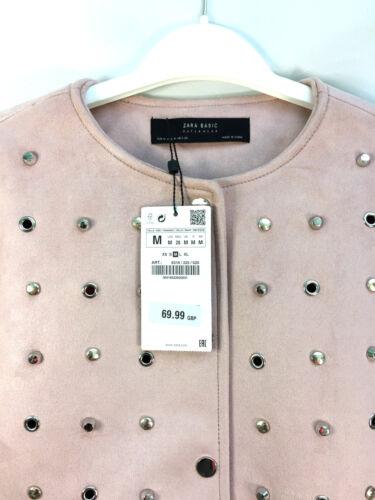 borchie New con media in taglia Light scamosciata Pink pelle Zara A0wgZfqxg