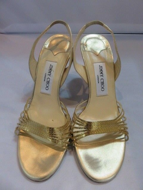 Jimmy Sandale Choo Strappy Metallic Bronze Sandale Jimmy Heels Sz 38.5 73982d
