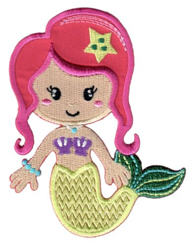 Kids Mermaid Iron On Patch Embroidered Applique Baby