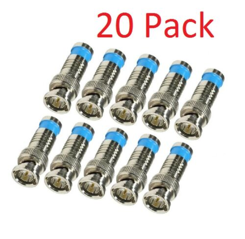 LOT 20 PCS BNC COMPRESSION CONNECTOR RG59 CCTV COAX CABLE ADAPTER COAXIAL MALE