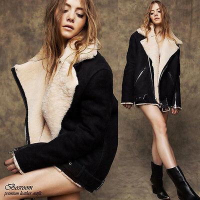 NWT Women's oversized faux shearling fur jacket loose fit coat black sz One(S-M)
