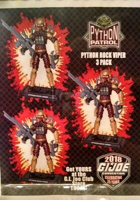 2018 G.i. Joecon Python Peril Rock Viper 3-pack 25th Gi Convention Gijoe Joe