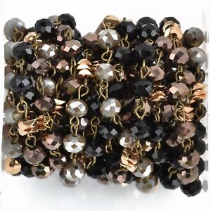 3Feet Gemstone Crystal AB Beads Gold plated link Rosary Chain-6mm Beads
