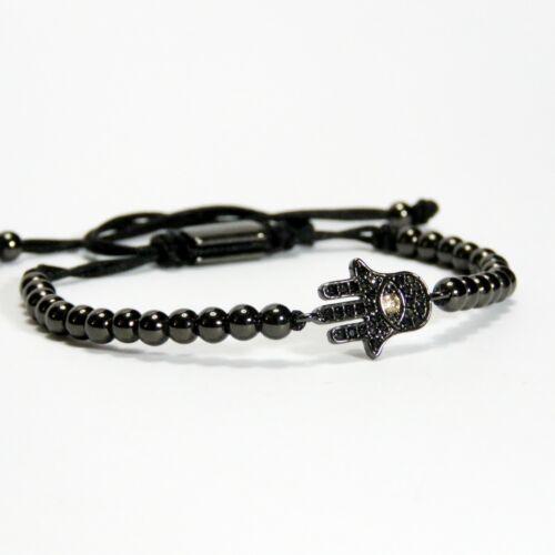 Hommes et Femmes Perle Bracelet Avec Charme incrusté de cristal 24 Karat Noir Plaqué Or