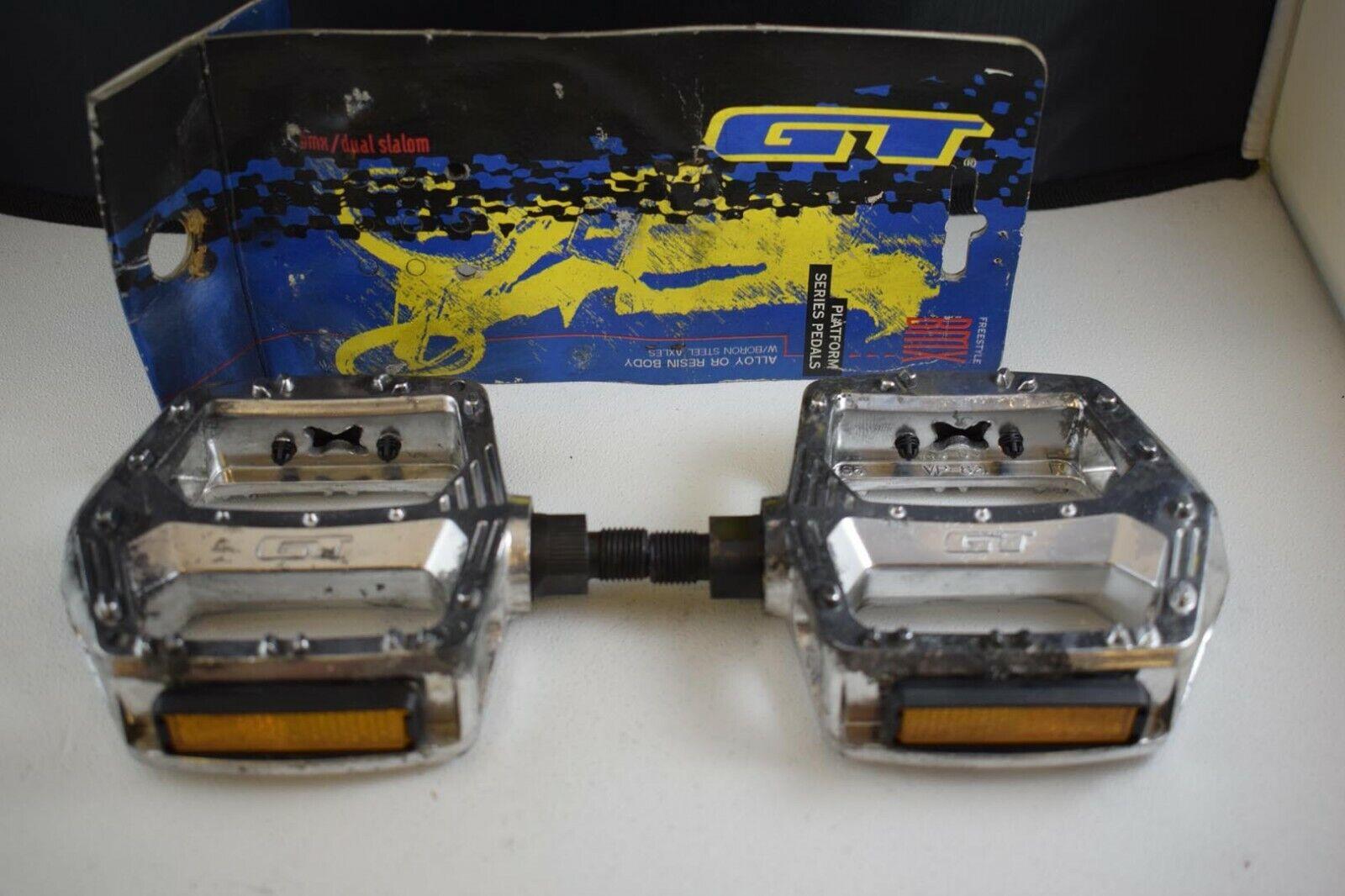 Pedal de plataforma GT Set 1 2 Pulgadas Bmx Vieja  Escuela Plata Vintage de Aluminio nos NIB  calidad fantástica