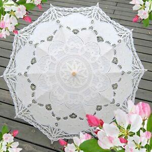 Women-Vintage-Handmade-Parasol-Sun-Umbrella-Cotton-Lace-Wedding-Bridal-Accessory