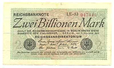 Germany Weimar Republic Reichsbanknote 2 Billionen Mark 5.11. 1923 F #132a RARE