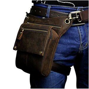 Details about Mens Womens Genuine Leather Cowhide Waist Hip Bum Pack  Motorcycle Drop Leg Bag f7a518662396d