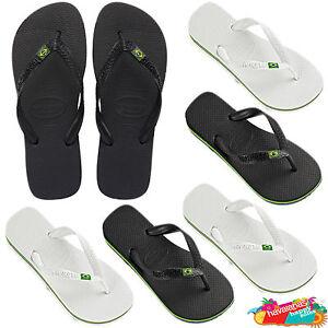 ea94f56c1f8c Havaianas Brazil in White Black flip flops Brazil flag logo sandals ...