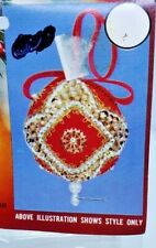 Walco DRUMS Red Blue Vintage Sequin Bead Christmas Ornament Kit Makes 3 NOS
