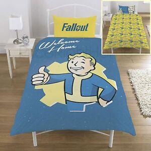 Fallout-Vault-Garcon-Set-Housse-de-Couette-Simple-Reversible-Enfants-Literie
