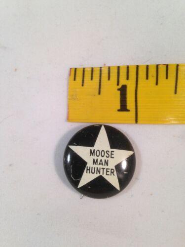 """Vintage 1/"""" Moose Man Hunter Button Pin Black//White//Star Pattern"""