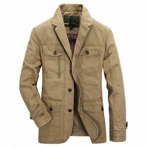 Newest Mens Casual Blazer Jacket Coat Cotton Vintage Military Pilot Cargo Jacket