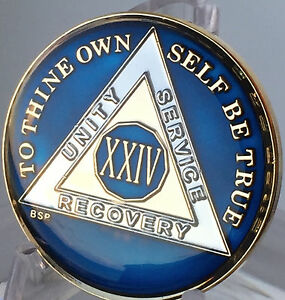24 Hours Midnight Blue AA Medallion Alcoholics Anonymous Chip Gold Tri-Plate one