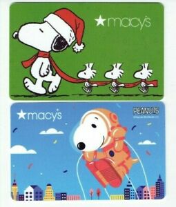 Macy-039-s-SNOOPY-Gift-Card-LOT-of-2-Peanuts-Woodstock-Christmas-No-Value