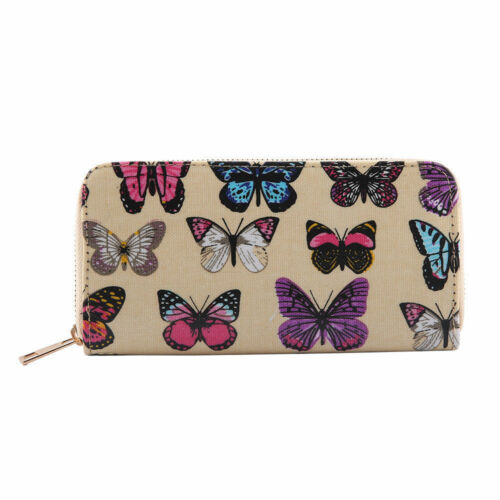 Ladies Girls Butterfly Print Purse Wallet Women Single Double Zip Party Purses