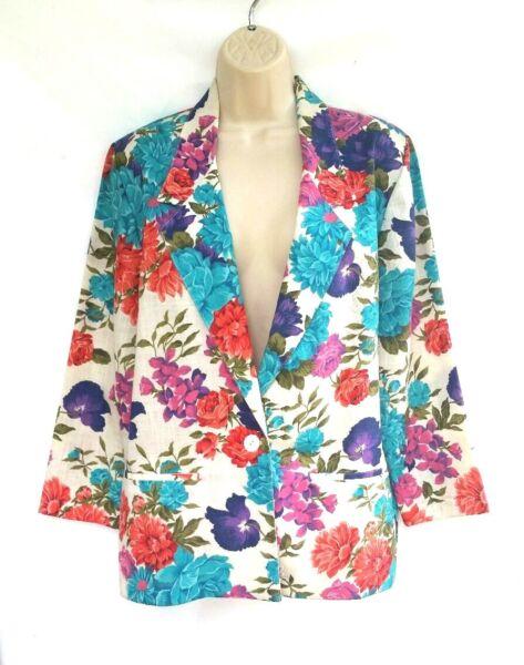 78b5d6a4fbe Worthington Womens Size 10P Blazer Floral Poly Rayon Linen Petite